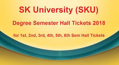 SKU Degree Semester Hall Tickets 2018 Download