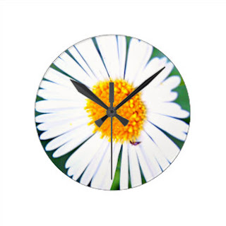 Yellow and white flower wall clock