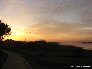 Sunrise over the Salt Lake, spoiled rather by telephone cables in the air