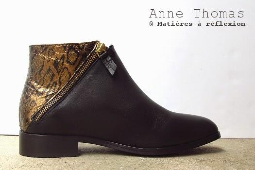 Bottines noir et or Anne Thomas