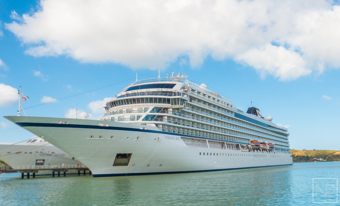 The Viking Sea docked in Antigua