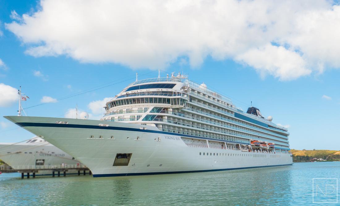The Viking Sea docked in Antigua