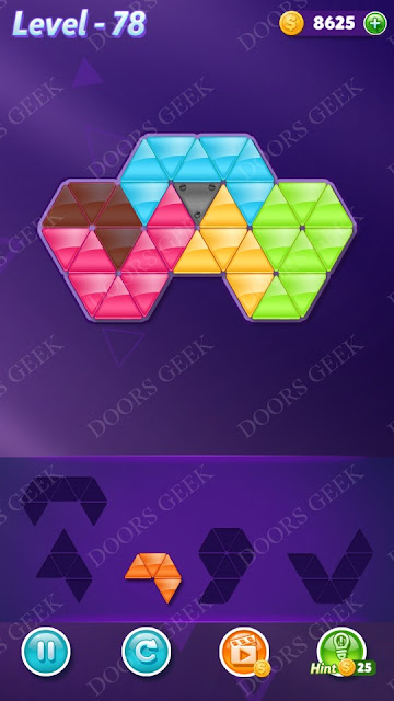 Block! Triangle Puzzle 5 Mania Level 78 Solution, Cheats, Walkthrough for Android, iPhone, iPad and iPod