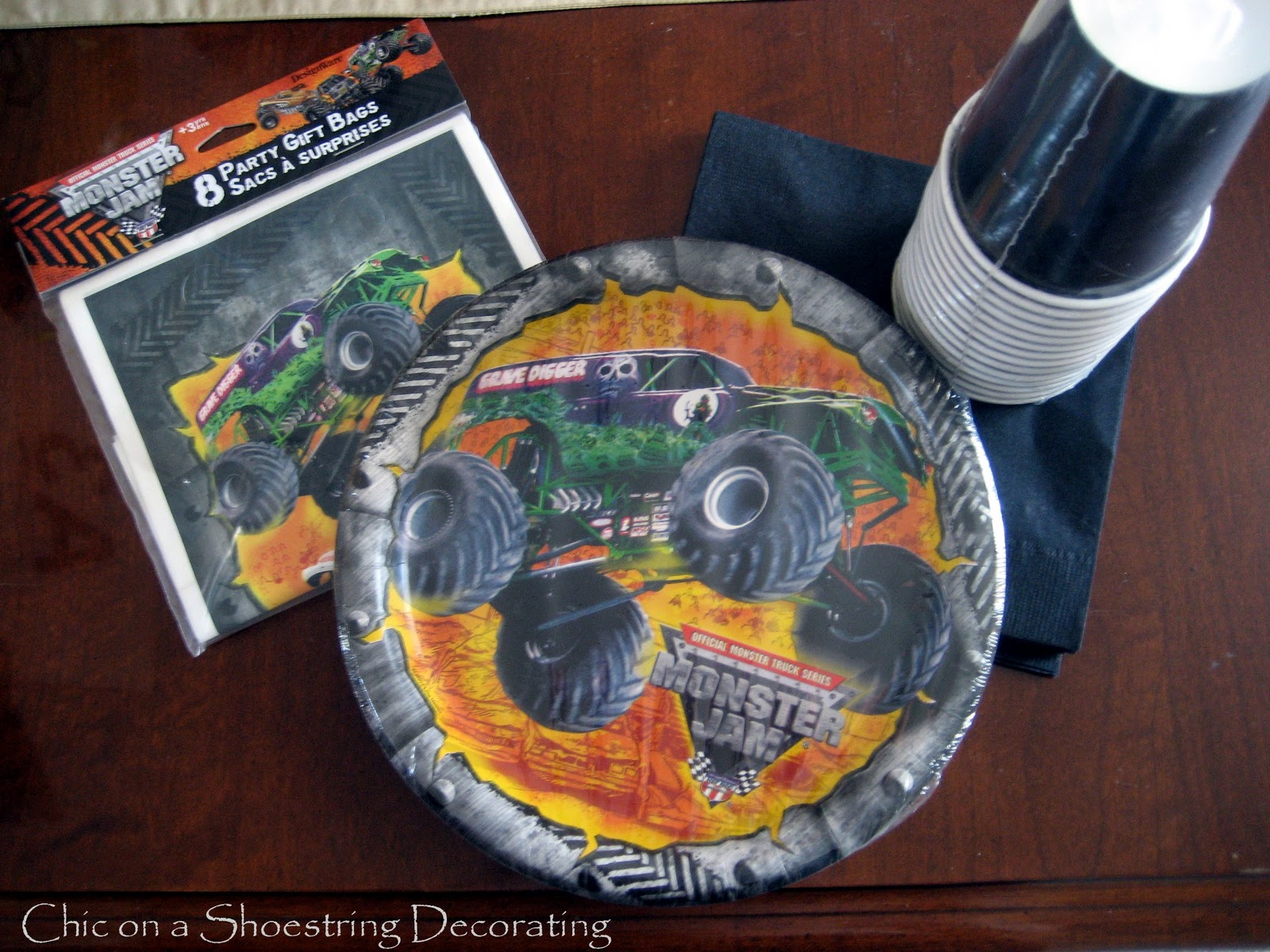 Chic On A Shoestring Decorating Monster Jam Birthday Party