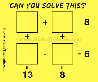 A + B = 8, C - D = 6, A + C = 13 and B +D =8. Can you solve for A, B, C and D?