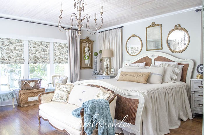 Gorgeous bedroom decorated in vintage French style