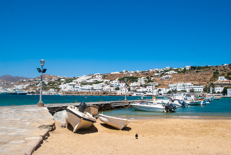 mykonos town view of the  harbour and boats