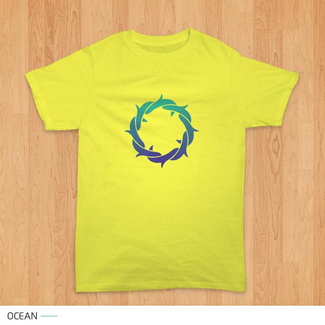 tampilan kaos seri mahkota duri - ocean (kuning)