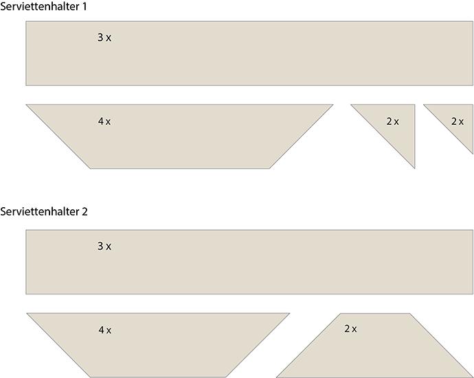 Gezeichnete Ansichten der Bauteile für 2 Serviettenhalter