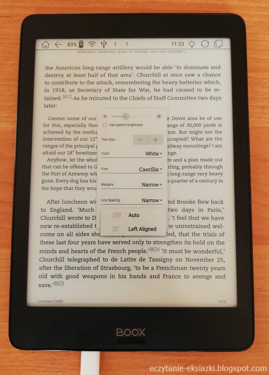 Ustawienia układu tekstu w aplikacji Kindle na Onyx Boox Nova