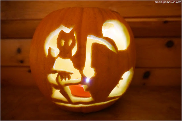 Calabaza Halloween Iluminada con Luz Artificial