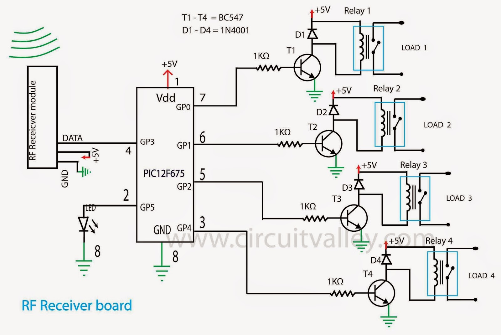 Embedded Engineering Low Cost Rf Control 4 Channel Relay Board Circuit And Working Complete Source Code Is Available At Github Repo With Hex Files