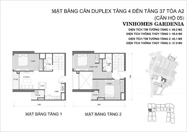 Mặt bằng căn hộ Duplex 05 tòa A2 vinhomes gardenia
