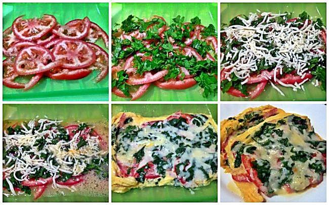 Preparación de la tortilla de tomate, queso y perejil con Lékué