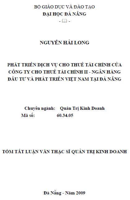 Phát triển dịch vụ cho thuê tài chính của công ty cho thuê tài chính II - ngân hàng đầu tư và phát triển Việt Nam tại Đà Nẵng