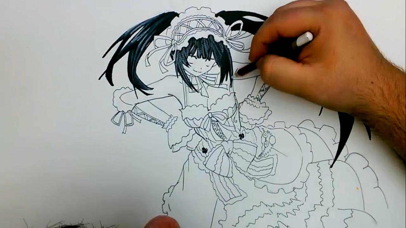 Triun Arts: COMO DIBUJAR A TOKISAKI KURUMI PASO A PASO