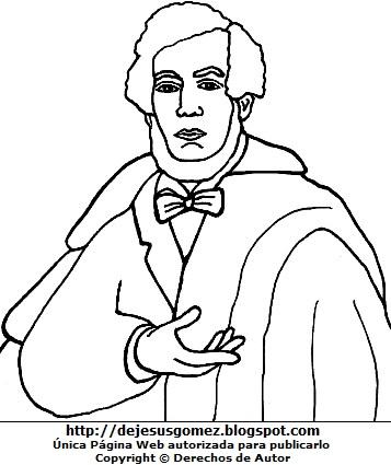 Dibujo de Esteban Echevarría para dibujar pintar o colorear. Imagen de Esteban Echevarría de Jesus Gómez