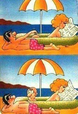 Comic, mujer, culo, calvo, playa