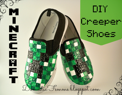 Minecraft Creeper Shoes Tutorial by Domestic Femme #Puff #Fabric #Paint #Paint #Shoe #DIY #Character #Green #White #Black #Instruction #Instructions #Instructable #Instructables