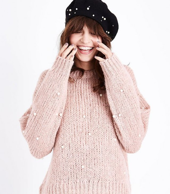 pink slouchy jumper with pearls