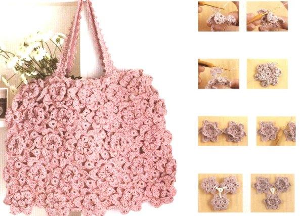 Bolso de flores con petalos dobles en relieve