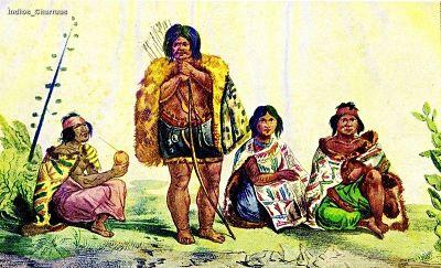 Pintura de cuatro charrúas, importantes en la historia de este pueblo.