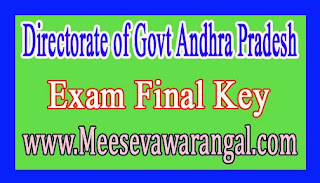 Directorate of Govt Andhra Pradesh NMMS /NTSE Nov 2016 Exam Final Key