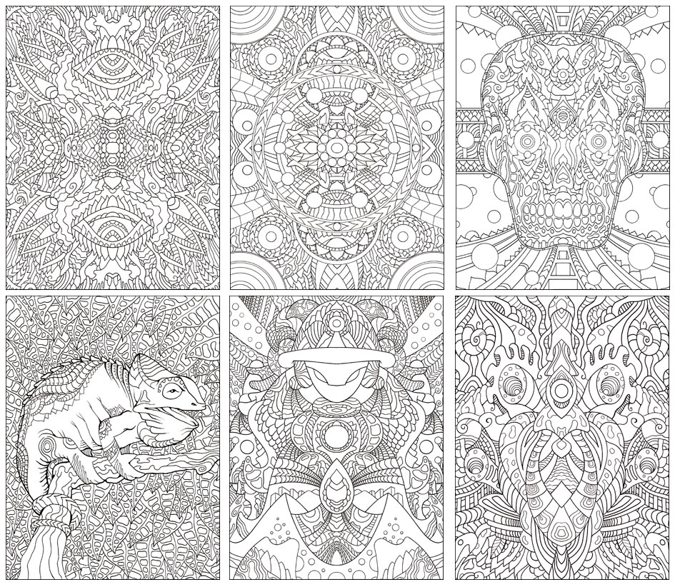 sample images click to view larger version - Psychedelic Coloring Book