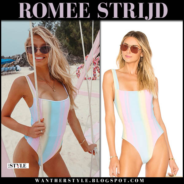 Romee Strijd in paste blue and pink one piece swimsuit model beach style july 19