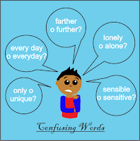 Diferencia entre farther y further, sensitive y sensible, only y unique, alone y lonely,, talk y speak, say y tell, everyday y every day, significado, idioms y language, inglés, aprender inglés, confusing words