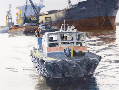 Heading Home by Daven Anderson shows a large tanker and a smaller fishing boat