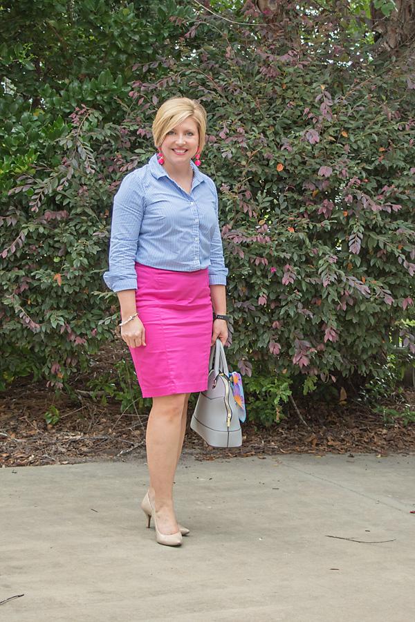 hot pink pencil skirt