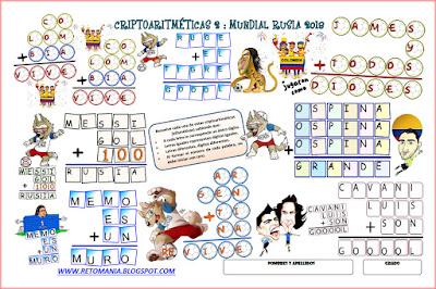 Alfaméticas, Criptoaritméticas, Criptosumas, Juego de letras, Juego de palabras, Retos matemáticos, Desafíos matemáticos, Problemas de lógica, Problemas de ingenio, Problemas matemáticos