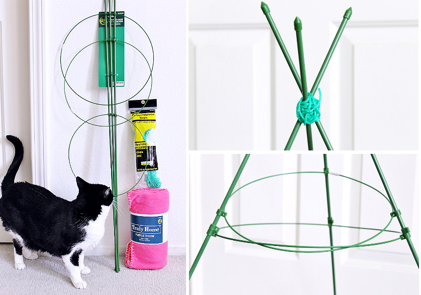 $5 No Skill Needed Kitty Teepee- Celebrate Easter with your pets with you shop at 99 Cents Only Stores. Shop adorable Easter baskets and decor, and grab supplies for affordable D.I.Y pet toys! #99YourEaster #DoThe99 #DoingThe99 #AD