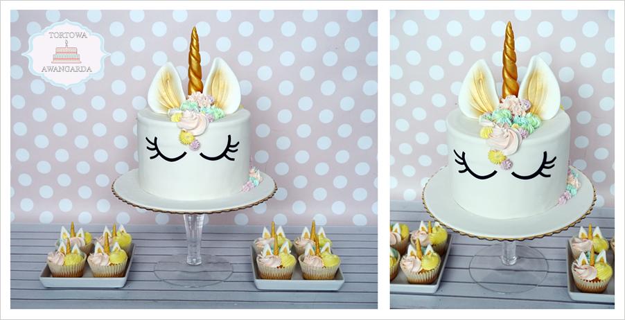 kolorowy tort jednorożec urodzinowy w kremie Warszawa dla dziewczynki