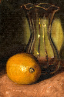 Oil painting of a lemon beside a tulip-shaped glass vase.
