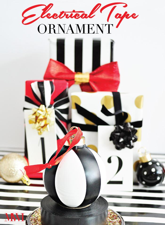 Black White Striped Holiday Ornament