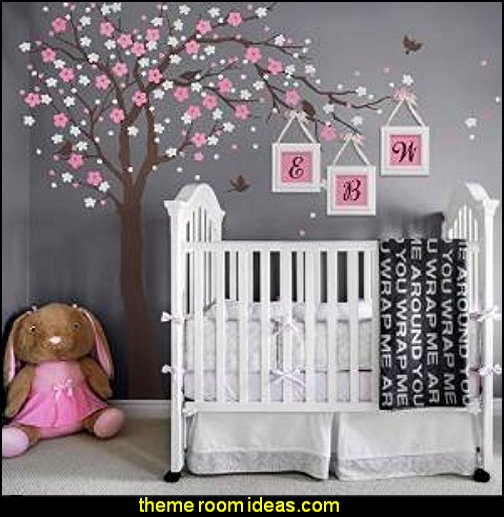 Cherry Blossom Tree Wall Decal  Tree Murals - tree wall decals - tree wall murals - Tree Wallpaper - tree wall stickers -  decorating with trees - tree wallpaper mural - Outdoor Bedroom decorating ideas - birch trees - forest trees wallpaper murals - tree props
