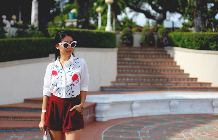 Stephanie Liu of Honey & Silk wearing Lulu*s at Hearst Castle