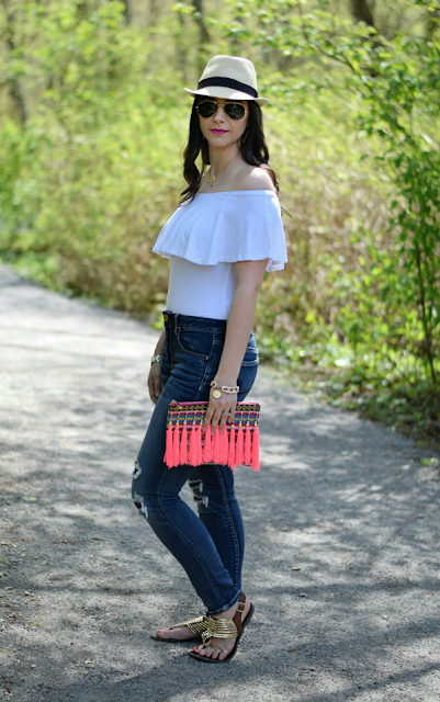 Fedora, Aviators, Off-the-shoulder and Distressed Jeans
