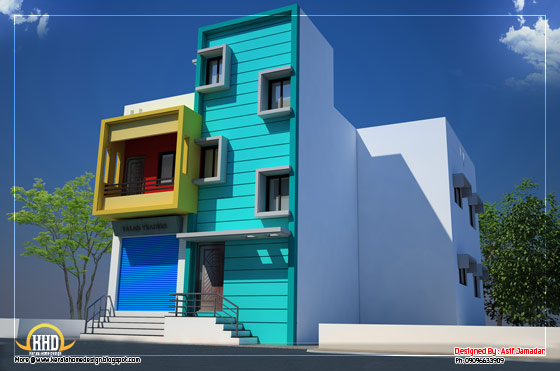 House with shop elevation - 2600 Sq. Ft. (242 Sq. M.) (289 Square Yards) - March 2012