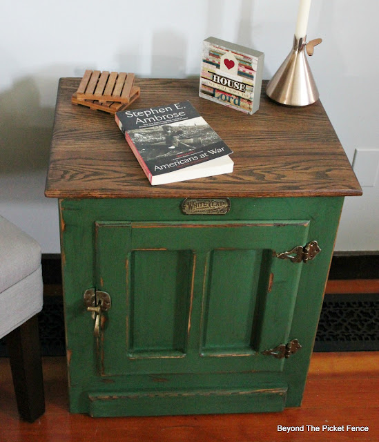 give an end table a rustic cabin look with paint and stain