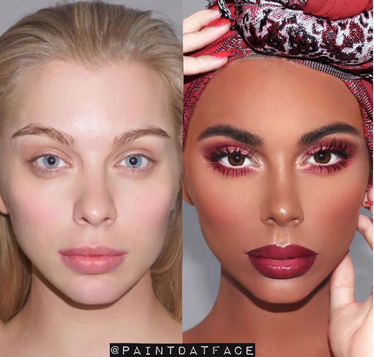 makeup artist transforms white woman into black