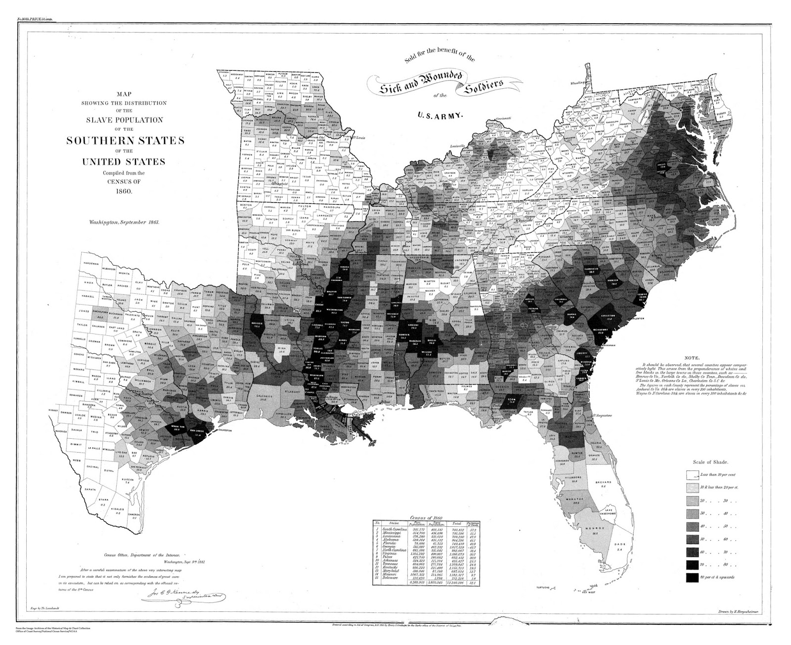 Slave population of the southern states of the U.S