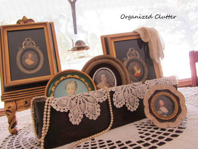 Victorian Lady Portraits In A Sewing Machine Drawer www.organizedclutterqueen.blogspot.com