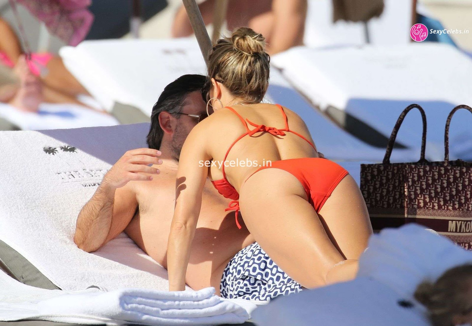Sylvie Meis Super Sexy fit Hot body in tiny red bikini WOW Beach Side Hot Pics