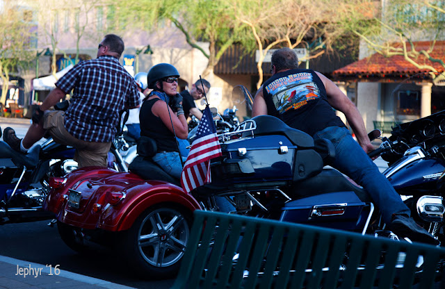 Event participants arriving at Motorcycles On Main - Photo: 2016, Jephyr - All Rights Reserved