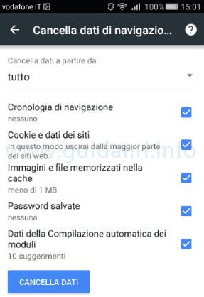 Chrome per Android selezionare dati di navigazione da eliminare
