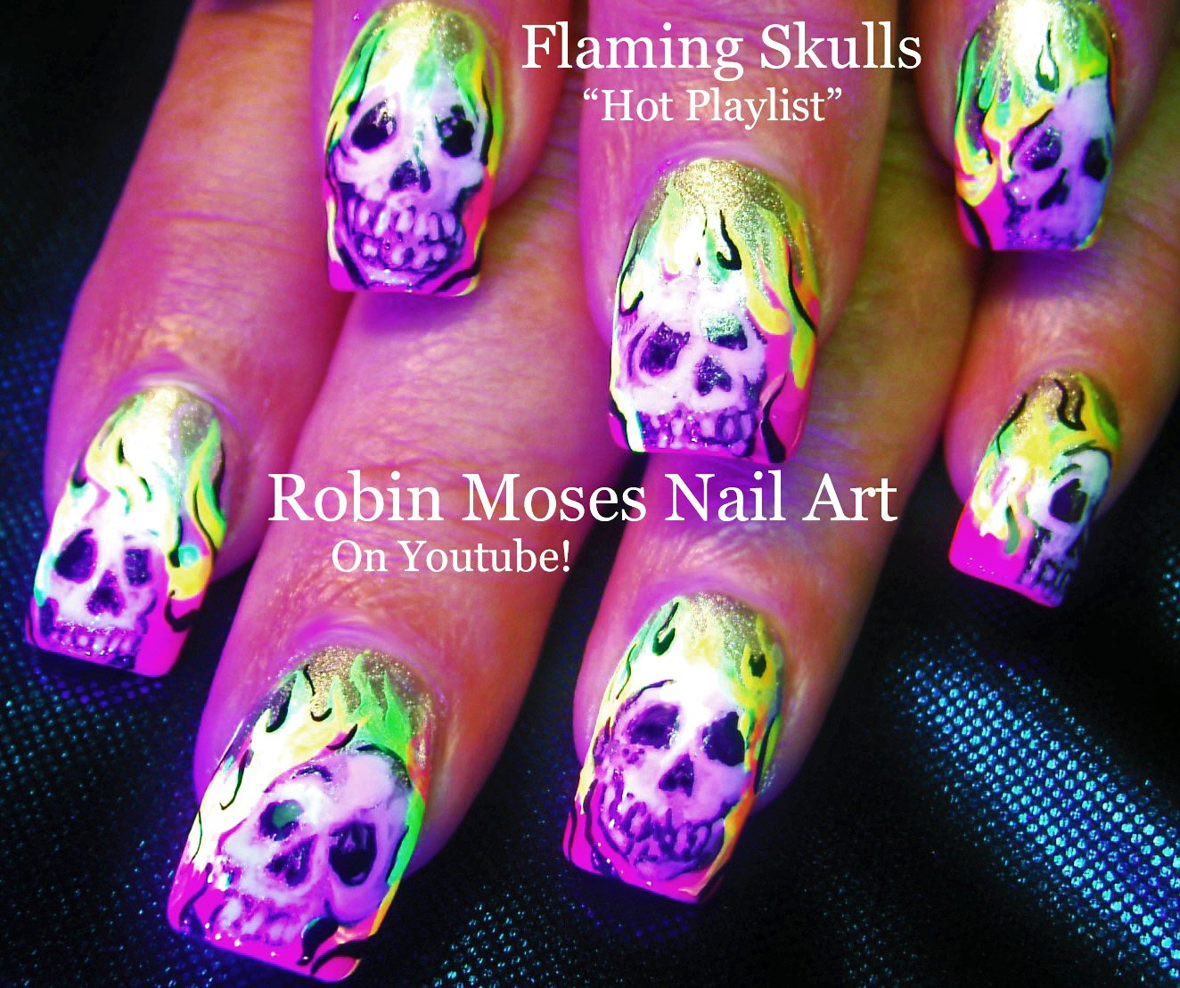 Nail Art By Robin Moses Neon Nails Flaming Skulls Skull Nails