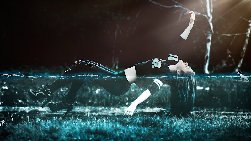 Girl Floating in Water HD